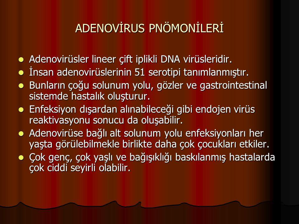 ADENOVİRUS PNÖMONİLERİ Adenovirüsler lineer çift iplikli DNA virüsleridir. Adenovirüsler lineer çift iplikli DNA virüsleridir. İnsan adenovirüslerinin