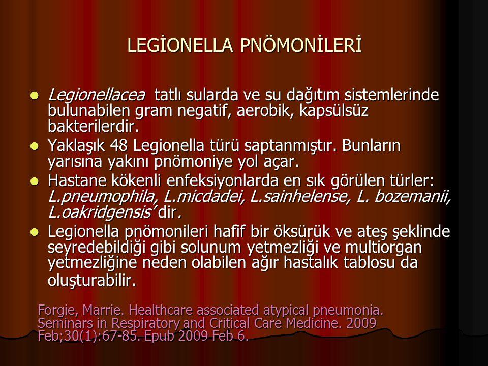 LEGİONELLA PNÖMONİLERİ Legionellacea tatlı sularda ve su dağıtım sistemlerinde bulunabilen gram negatif, aerobik, kapsülsüz bakterilerdir. Legionellac