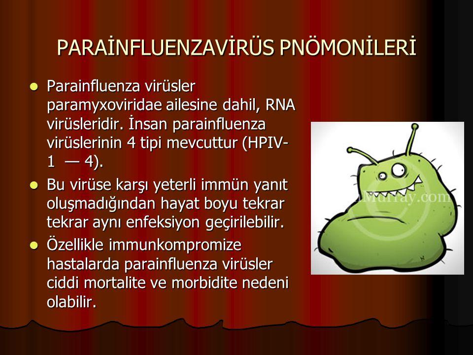 PARAİNFLUENZAVİRÜS PNÖMONİLERİ Parainfluenza virüsler paramyxoviridae ailesine dahil, RNA virüsleridir. İnsan parainfluenza virüslerinin 4 tipi mevcut