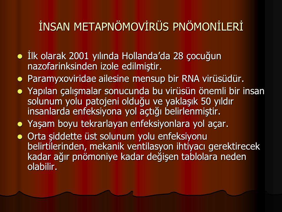 İNSAN METAPNÖMOVİRÜS PNÖMONİLERİ İlk olarak 2001 yılında Hollanda'da 28 çocuğun nazofarinksinden izole edilmiştir. İlk olarak 2001 yılında Hollanda'da