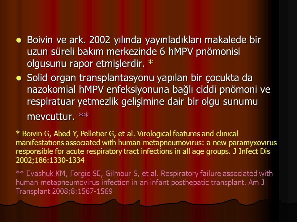Boivin ve ark. 2002 yılında yayınladıkları makalede bir uzun süreli bakım merkezinde 6 hMPV pnömonisi olgusunu rapor etmişlerdir. * Boivin ve ark. 200