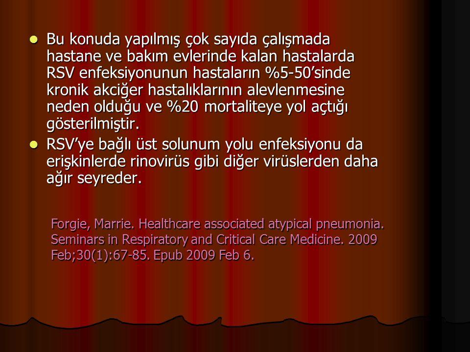 Bu konuda yapılmış çok sayıda çalışmada hastane ve bakım evlerinde kalan hastalarda RSV enfeksiyonunun hastaların %5-50'sinde kronik akciğer hastalıkl