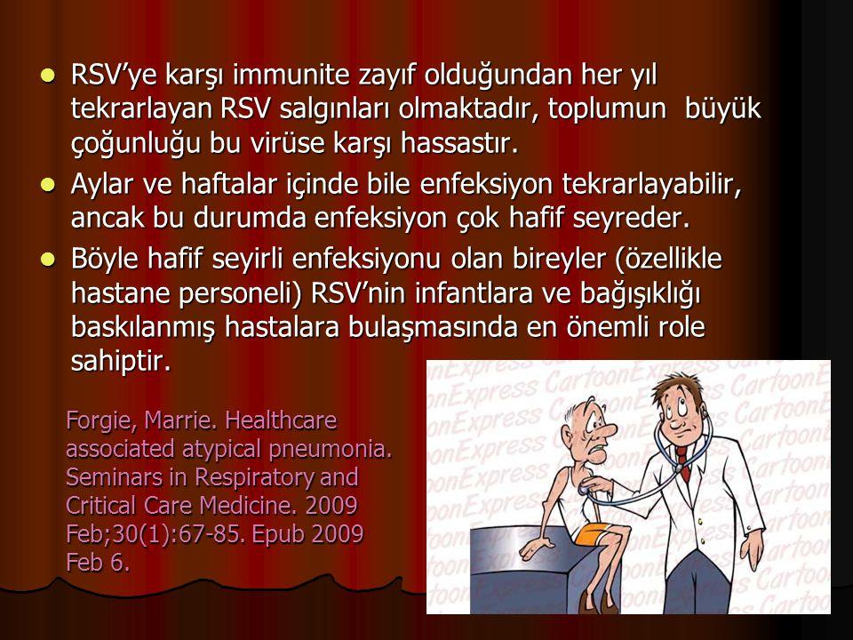 RSV'ye karşı immunite zayıf olduğundan her yıl tekrarlayan RSV salgınları olmaktadır, toplumun büyük çoğunluğu bu virüse karşı hassastır. RSV'ye karşı