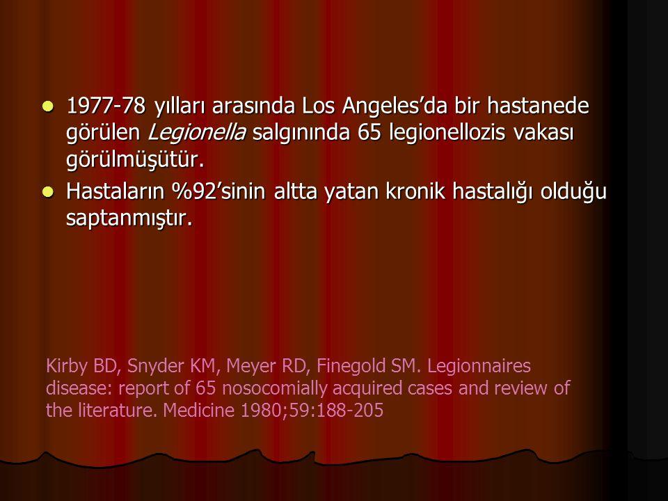 1977-78 yılları arasında Los Angeles'da bir hastanede görülen Legionella salgınında 65 legionellozis vakası görülmüşütür. 1977-78 yılları arasında Los