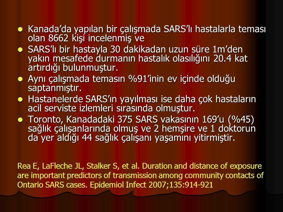 Kanada'da yapılan bir çalışmada SARS'lı hastalarla teması olan 8662 kişi incelenmiş ve Kanada'da yapılan bir çalışmada SARS'lı hastalarla teması olan