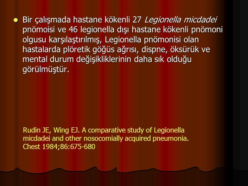 Bir başka çalışmada hastane kökenli Legionella enfeksiyonu olan hastaların PA akciğer grafileri incelenmiş, Bir başka çalışmada hastane kökenli Legionella enfeksiyonu olan hastaların PA akciğer grafileri incelenmiş,  lober pnömoni %20,  hızlı progrese eden pnömoni %20,  aspirasyon pnömonisi %16,  atipik pnömoniyle uyumlu görünüm %30 oranlarında saptanmıştır.