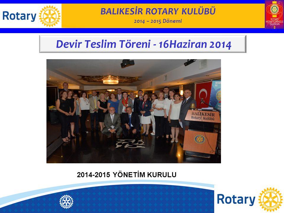 BALIKESİR ROTARY KULÜBÜ 2014 – 2015 Dönemi Devir Teslim Töreni - 16Haziran 2014