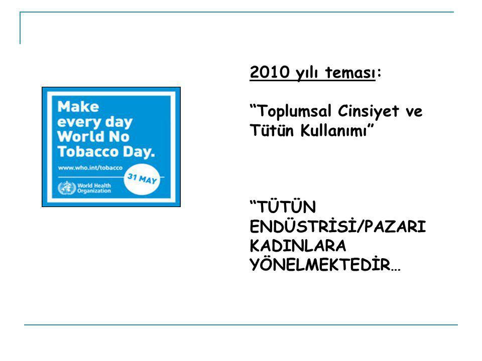2010 yılı teması: Toplumsal Cinsiyet ve Tütün Kullanımı TÜTÜN ENDÜSTRİSİ/PAZARI KADINLARA YÖNELMEKTEDİR…