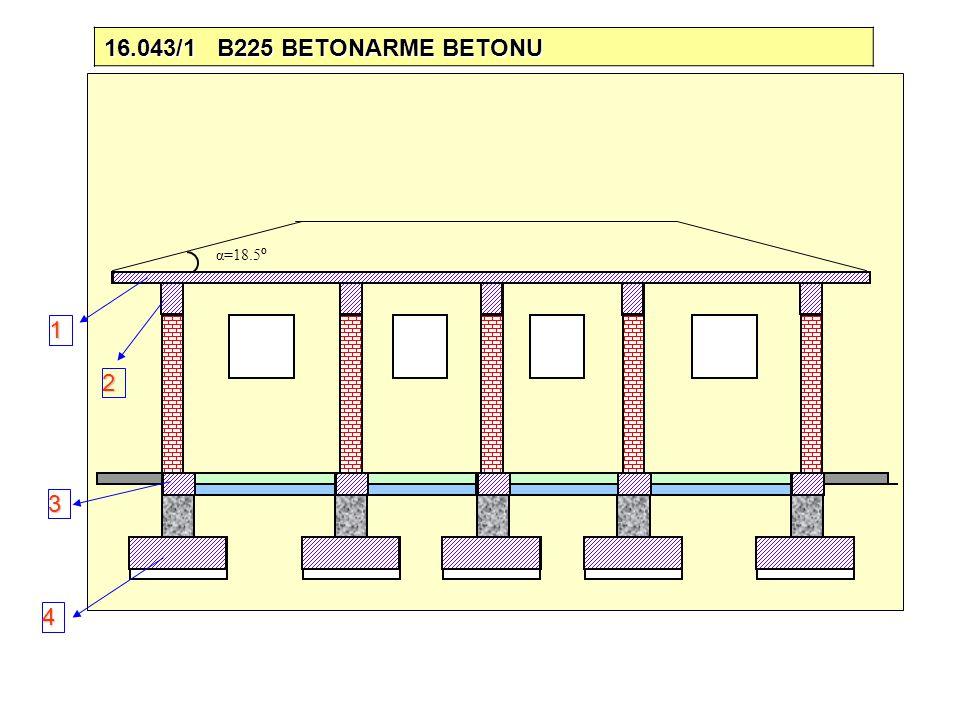 α=18.5 º 16.043/1 B225 BETONARME BETONU 1 2 3 4