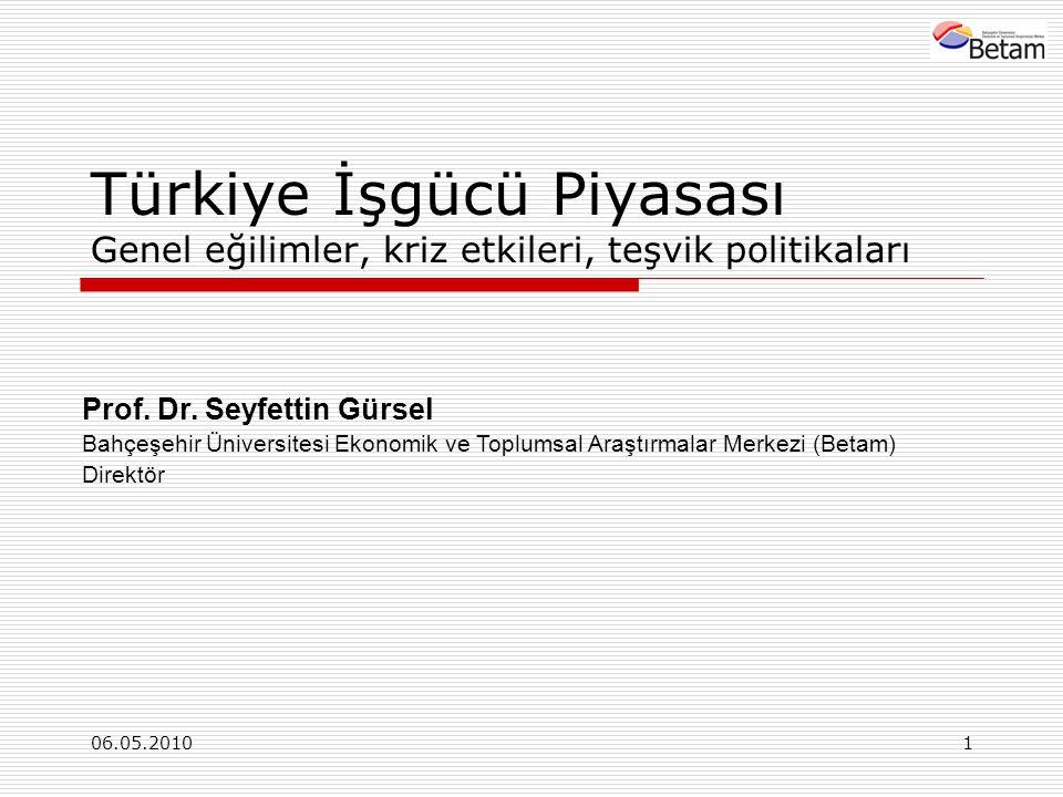 06.05.20101 Türkiye İşgücü Piyasası Genel eğilimler, kriz etkileri, teşvik politikaları Prof.