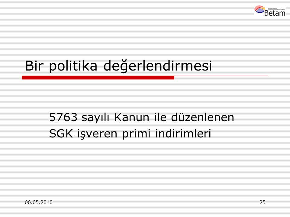 06.05.201025 Bir politika değerlendirmesi 5763 sayılı Kanun ile düzenlenen SGK işveren primi indirimleri