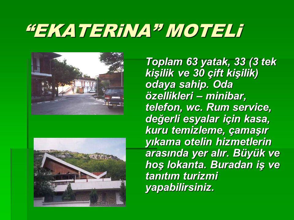 """""""EKATERiNA"""" MOTELi Toplam 63 yatak, 33 (3 tek kişilik ve 30 çift kişilik) odaya sahip. Oda özellikleri – minibar, telefon, wc. Rum service, değerli es"""