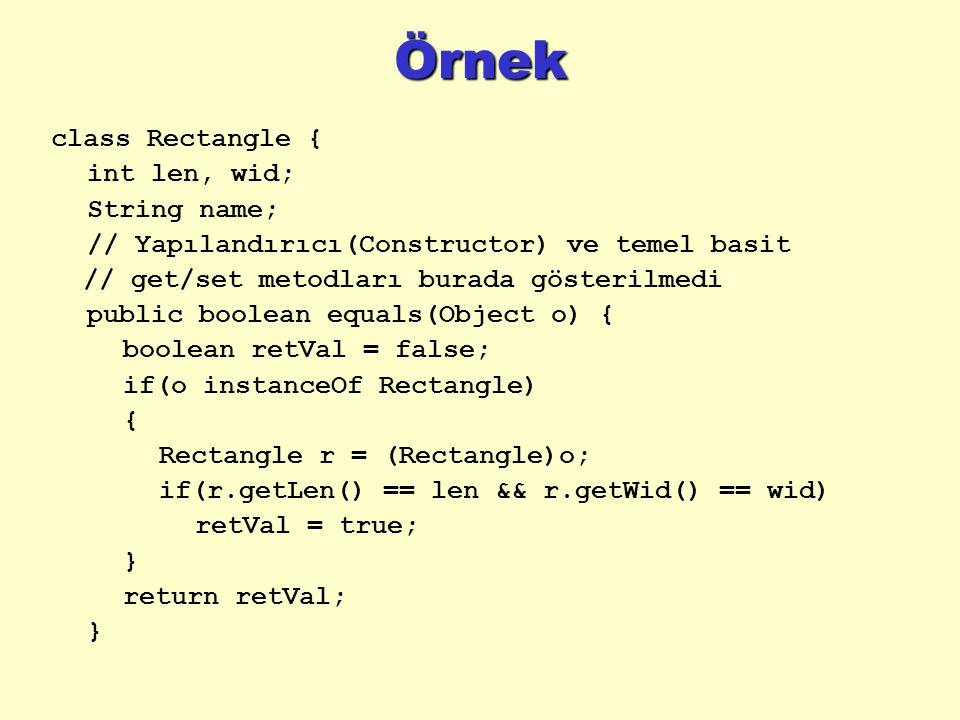 Örnek class Rectangle { int len, wid; String name; // Yapılandırıcı(Constructor) ve temel basit // get/set metodları burada gösterilmedi public boolean equals(Object o) { boolean retVal = false; if(o instanceOf Rectangle) { Rectangle r = (Rectangle)o; if(r.getLen() == len && r.getWid() == wid) retVal = true; } return retVal; }