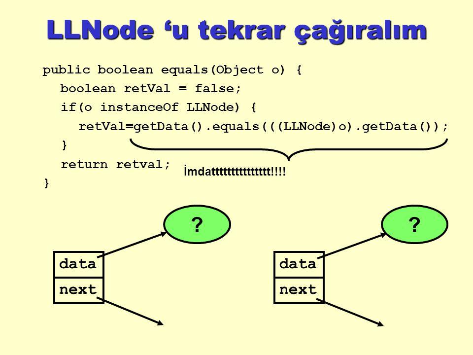 LLNode 'u tekrar çağıralım public boolean equals(Object o) { boolean retVal = false; if(o instanceOf LLNode) { retVal=getData().equals(((LLNode)o).getData()); } return retval; } İmdattttttttttttttt!!!.
