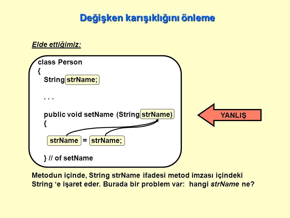 Elde ettiğimiz: class Person { String strName;...