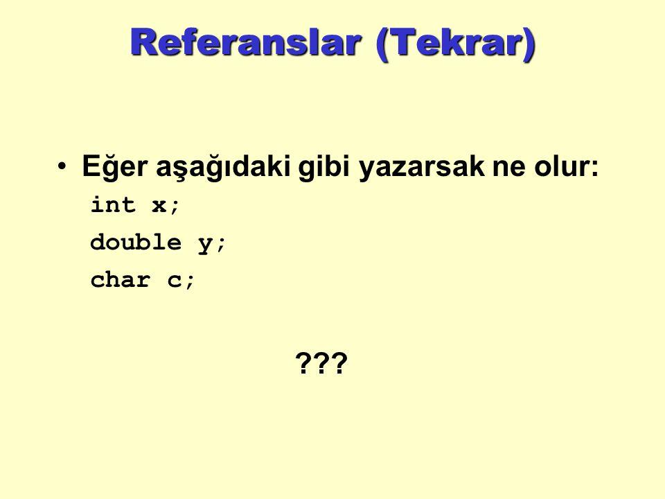 Referanslar (Tekrar) Eğer aşağıdaki gibi yazarsak ne olur: int x; double y; char c; ???