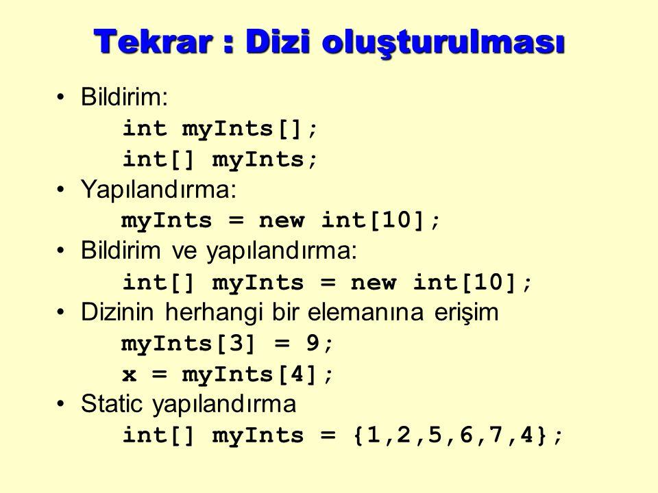 Tekrar : Dizi oluşturulması Bildirim: int myInts[]; int[] myInts; Yapılandırma: myInts = new int[10]; Bildirim ve yapılandırma: int[] myInts = new int[10]; Dizinin herhangi bir elemanına erişim myInts[3] = 9; x = myInts[4]; Static yapılandırma int[] myInts = {1,2,5,6,7,4};