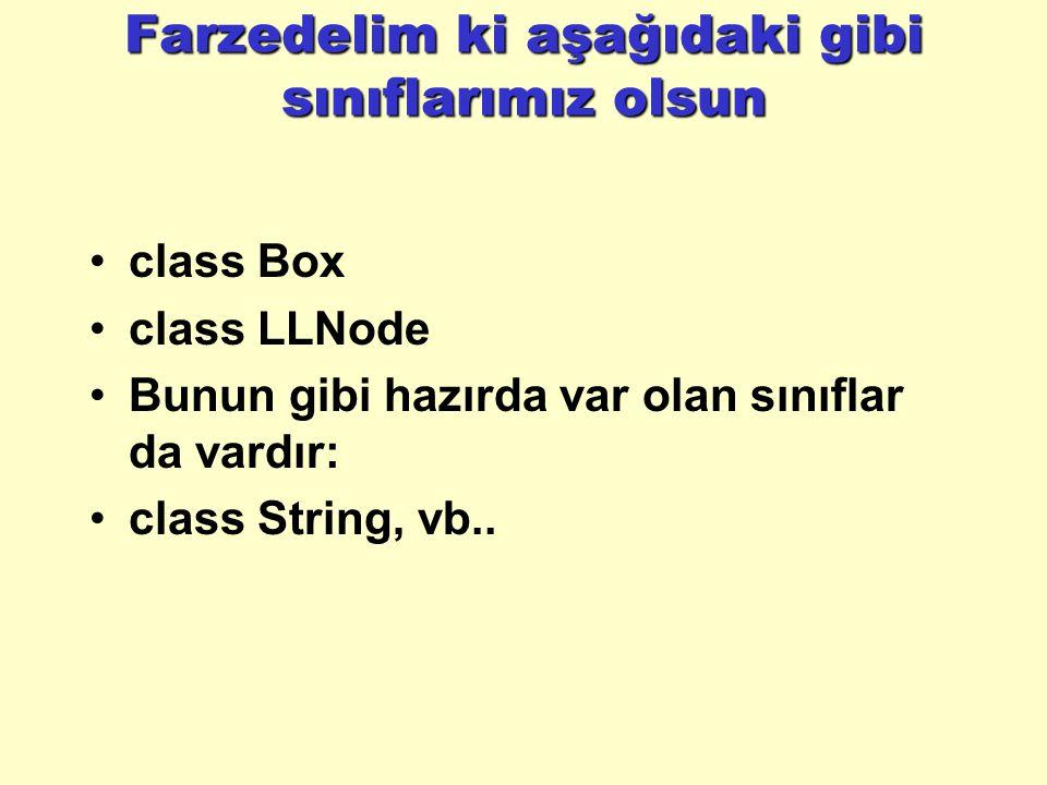 Farzedelim ki aşağıdaki gibi sınıflarımız olsun class Box class LLNode Bunun gibi hazırda var olan sınıflar da vardır: class String, vb..