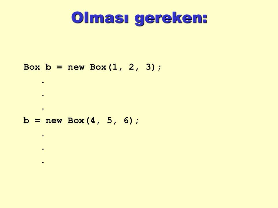Örnek public static void main(String args[]) { Rectangle r1 = new Rectangle(3,4, Bob ); Rectangle r2 = new Rectangle(3,4, Ted ); Rectangle r3 = new Rectangle(8,7, Bob ); Rectangle r4 = r1; String s = Goofy ; System.out.println(r1.equals(r2)); System.out.println(r1.equals(r3)); System.out.println(r1.equals(r4)); System.out.println(r1.equals(s)); } } // Rectangle