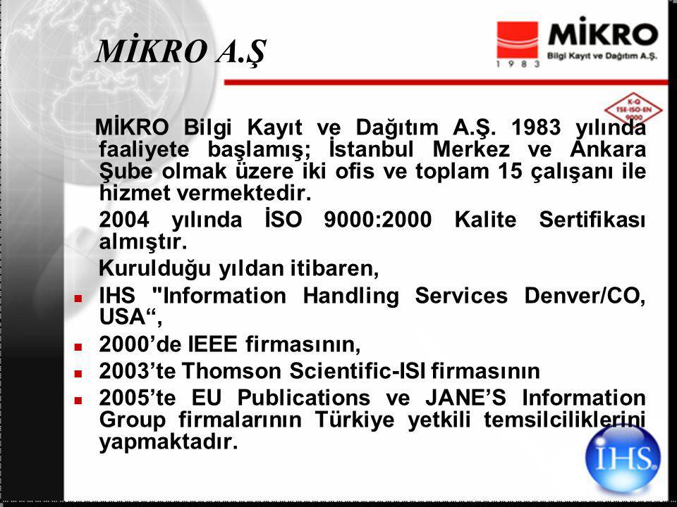 MİKRO A.Ş MİKRO Bilgi Kayıt ve Dağıtım A.Ş. 1983 yılında faaliyete başlamış; İstanbul Merkez ve Ankara Şube olmak üzere iki ofis ve toplam 15 çalışanı