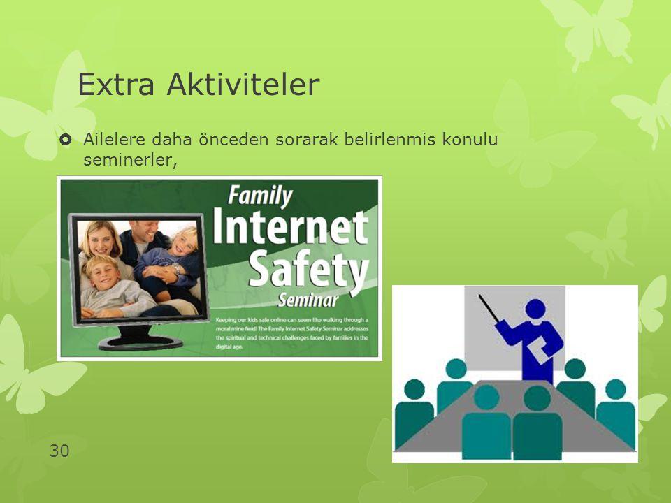 30 Extra Aktiviteler  Ailelere daha önceden sorarak belirlenmis konulu seminerler,