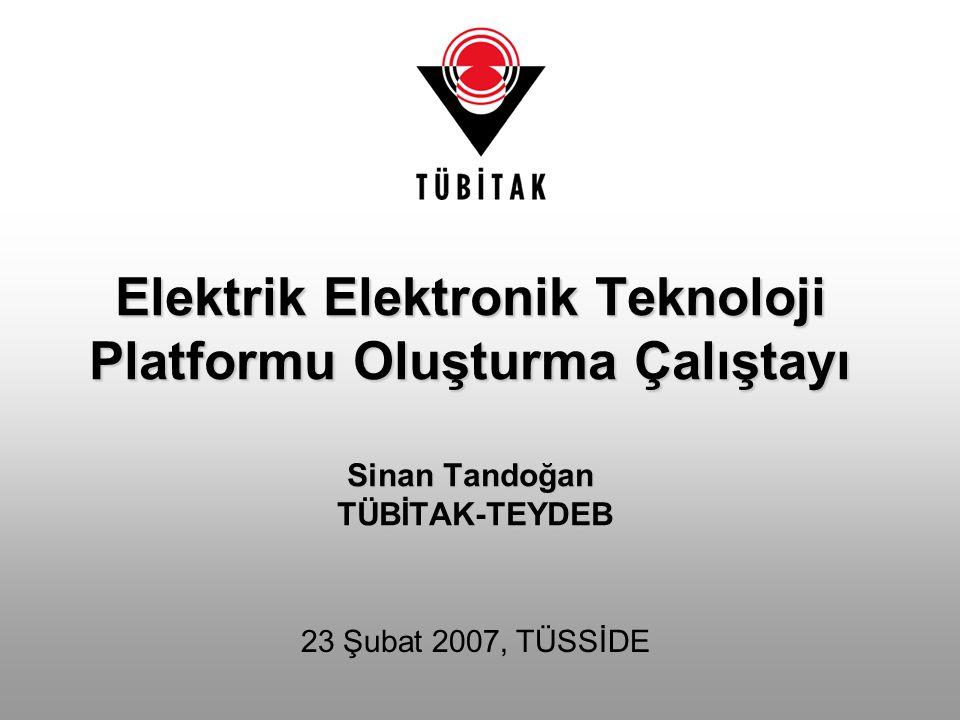 Elektrik Elektronik Teknoloji Platformu Oluşturma Çalıştayı Sinan Tandoğan TÜBİTAK-TEYDEB 23 Şubat 2007, TÜSSİDE