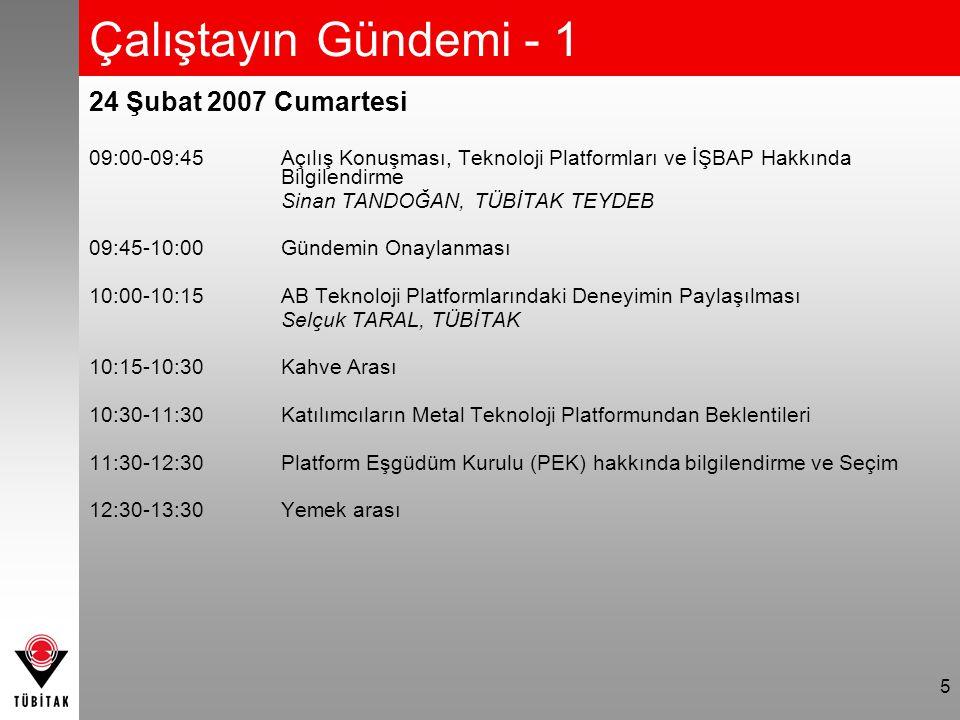 5 Çalıştayın Gündemi - 1 24 Şubat 2007 Cumartesi 09:00-09:45Açılış Konuşması, Teknoloji Platformları ve İŞBAP Hakkında Bilgilendirme Sinan TANDOĞAN, TÜBİTAK TEYDEB 09:45-10:00 Gündemin Onaylanması 10:00-10:15 AB Teknoloji Platformlarındaki Deneyimin Paylaşılması Selçuk TARAL, TÜBİTAK 10:15-10:30Kahve Arası 10:30-11:30Katılımcıların Metal Teknoloji Platformundan Beklentileri 11:30-12:30Platform Eşgüdüm Kurulu (PEK) hakkında bilgilendirme ve Seçim 12:30-13:30Yemek arası