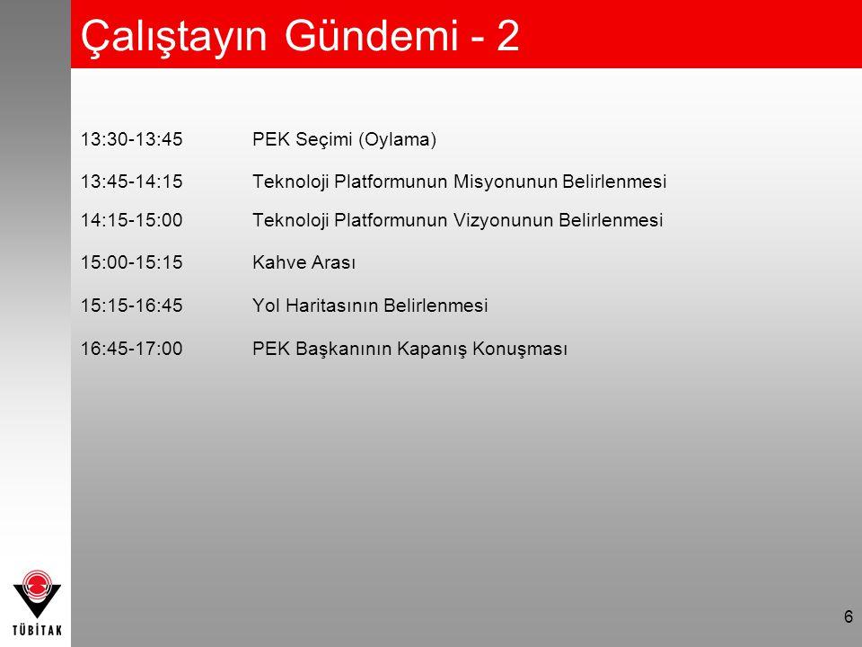 6 Çalıştayın Gündemi - 2 13:30-13:45PEK Seçimi (Oylama) 13:45-14:15Teknoloji Platformunun Misyonunun Belirlenmesi 14:15-15:00Teknoloji Platformunun Vizyonunun Belirlenmesi 15:00-15:15Kahve Arası 15:15-16:45Yol Haritasının Belirlenmesi 16:45-17:00PEK Başkanının Kapanış Konuşması