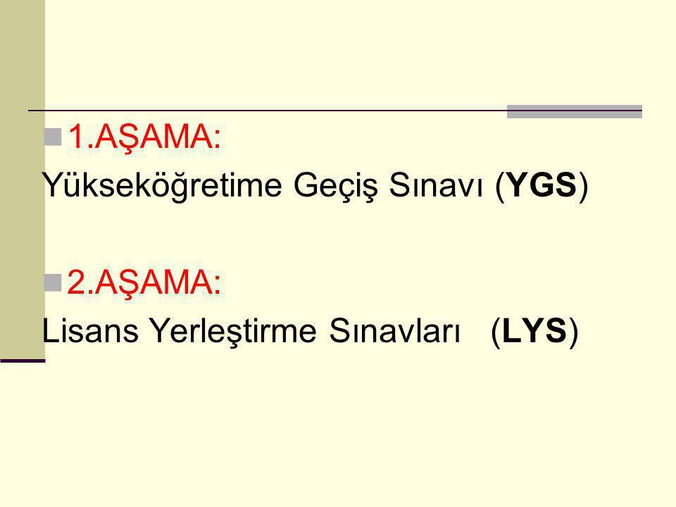 1.AŞAMA: Yükseköğretime Geçiş Sınavı (YGS) 2.AŞAMA: Lisans Yerleştirme Sınavları (LYS)