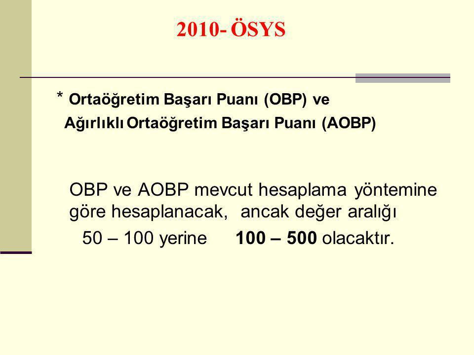 * Ortaöğretim Başarı Puanı (OBP) ve Ağırlıklı Ortaöğretim Başarı Puanı (AOBP) OBP ve AOBP mevcut hesaplama yöntemine göre hesaplanacak, ancak değer aralığı 50 – 100 yerine 100 – 500 olacaktır.