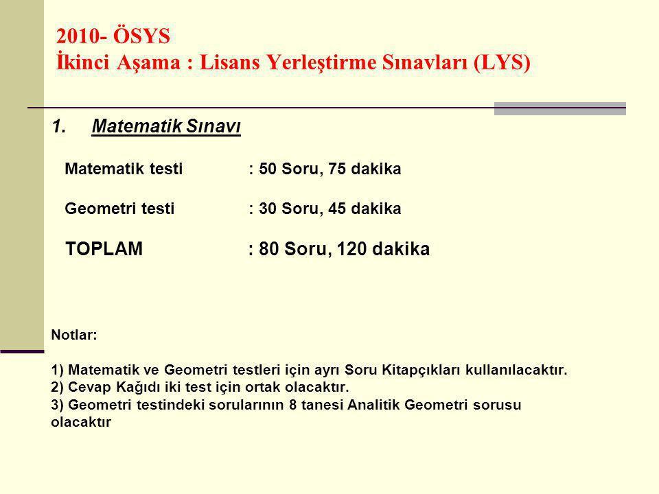 2010- ÖSYS İkinci Aşama : Lisans Yerleştirme Sınavları (LYS) 2.