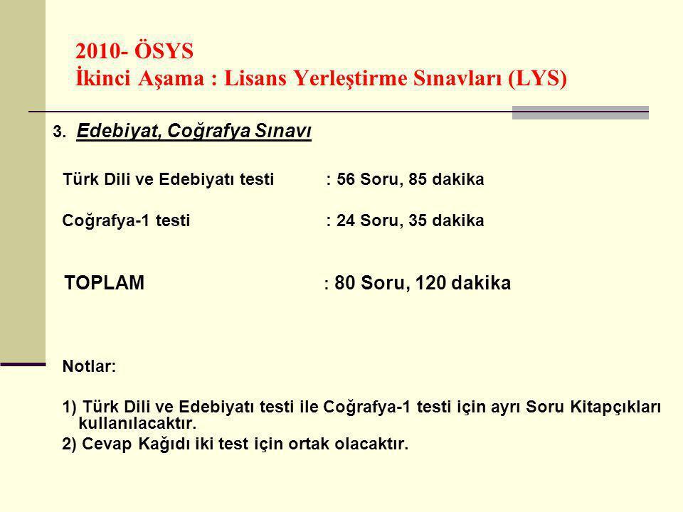 2010- ÖSYS İkinci Aşama : Lisans Yerleştirme Sınavları (LYS) LYS Puanları Değer Aralığı : Her puan türündeki puanlar, en küçüğü 100, en büyüğü 500 olan puanlar olarak hesaplanacaktır.
