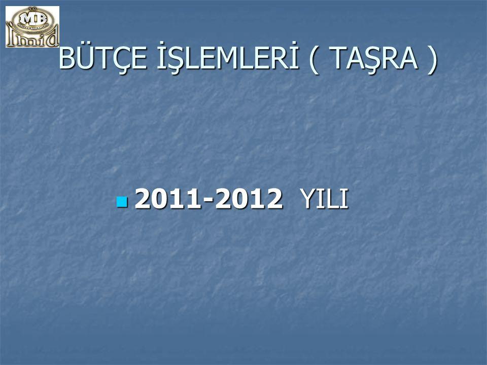 BÜTÇE İŞLEMLERİ ( TAŞRA ) BÜTÇE İŞLEMLERİ ( TAŞRA ) 2011-2012 YILI 2011-2012 YILI