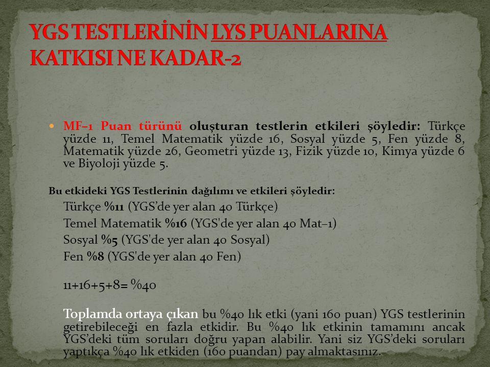 MF–1 Puan türünü oluşturan testlerin etkileri şöyledir: Türkçe yüzde 11, Temel Matematik yüzde 16, Sosyal yüzde 5, Fen yüzde 8, Matematik yüzde 26, Ge
