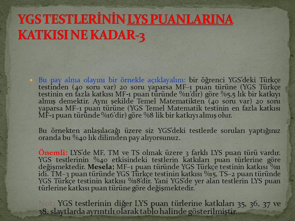 Bu pay alma olayını bir örnekle açıklayalım: bir öğrenci YGS'deki Türkçe testinden (40 soru var) 20 soru yaparsa MF–1 puan türüne (YGS Türkçe testinin