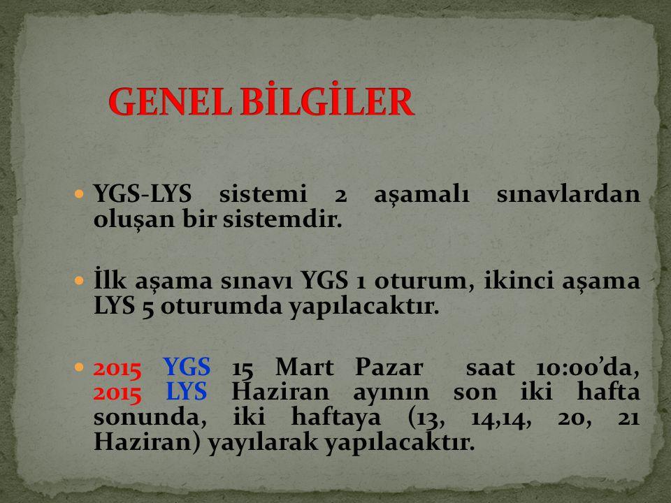 YGS-LYS sistemi 2 aşamalı sınavlardan oluşan bir sistemdir. İlk aşama sınavı YGS 1 oturum, ikinci aşama LYS 5 oturumda yapılacaktır. 2015 YGS 15 Mart