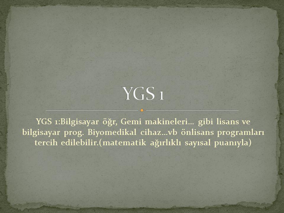 YGS 1:Bilgisayar öğr, Gemi makineleri… gibi lisans ve bilgisayar prog. Biyomedikal cihaz…vb önlisans programları tercih edilebilir.(matematik ağırlıkl