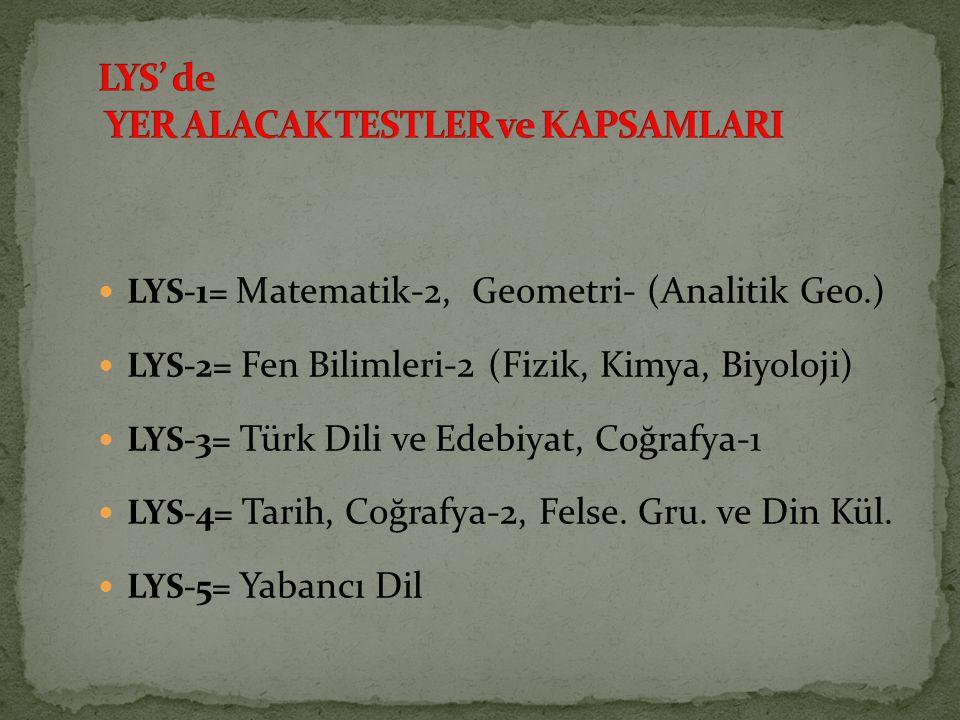 LYS-1= Matematik-2, Geometri- (Analitik Geo.) LYS-2= Fen Bilimleri-2 (Fizik, Kimya, Biyoloji) LYS-3= Türk Dili ve Edebiyat, Coğrafya-1 LYS-4= Tarih, C