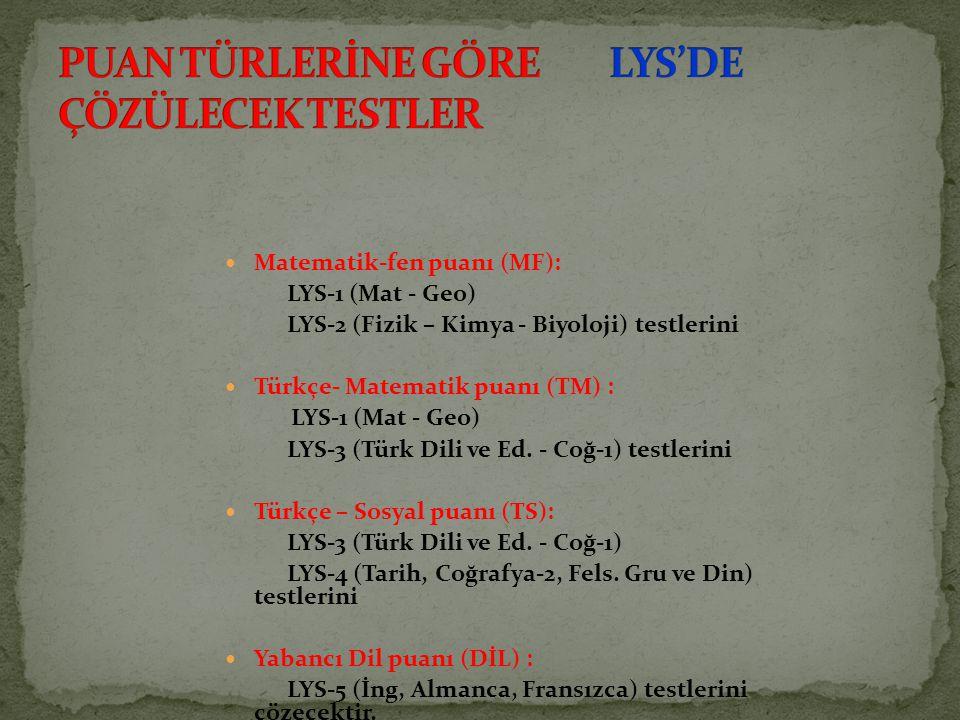 Matematik-fen puanı (MF): LYS-1 (Mat - Geo) LYS-2 (Fizik – Kimya - Biyoloji) testlerini Türkçe- Matematik puanı (TM) : LYS-1 (Mat - Geo) LYS-3 (Türk D