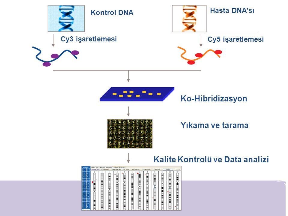 Kontrol DNA Hasta DNA'sı Cy3 işaretlemesi Cy5 işaretlemesi Ko-Hibridizasyon Yıkama ve tarama Kalite Kontrolü ve Data analizi