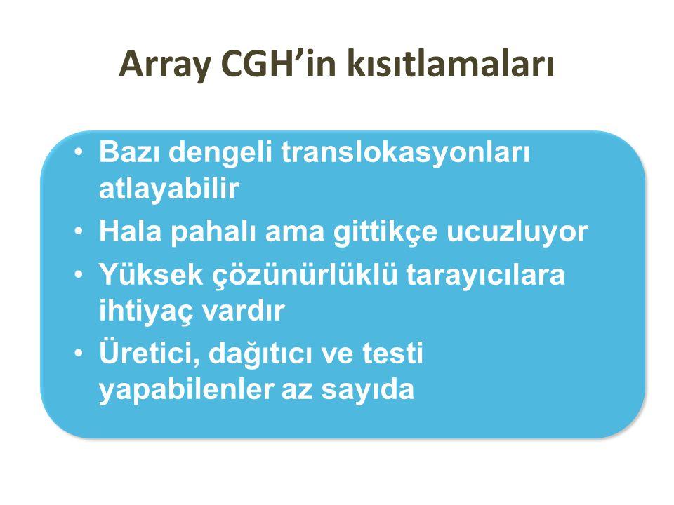 Array CGH'in kısıtlamaları Bazı dengeli translokasyonları atlayabilir Hala pahalı ama gittikçe ucuzluyor Yüksek çözünürlüklü tarayıcılara ihtiyaç vard