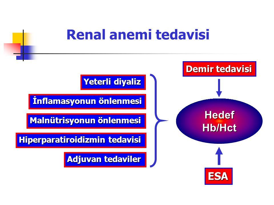 Yeterli diyaliz Malnütrisyonun önlenmesi İnflamasyonun önlenmesi Hiperparatiroidizmin tedavisi Demir tedavisi HedefHb/Hct ESA Adjuvan tedaviler