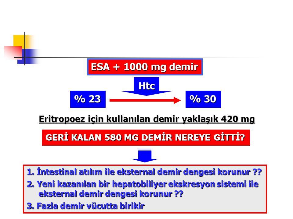 ESA + 1000 mg demir % 23 % 30 Htc Eritropoez için kullanılan demir yaklaşık 420 mg GERİ KALAN 580 MG DEMİR NEREYE GİTTİ? 1. İntestinal atılım ile ekst