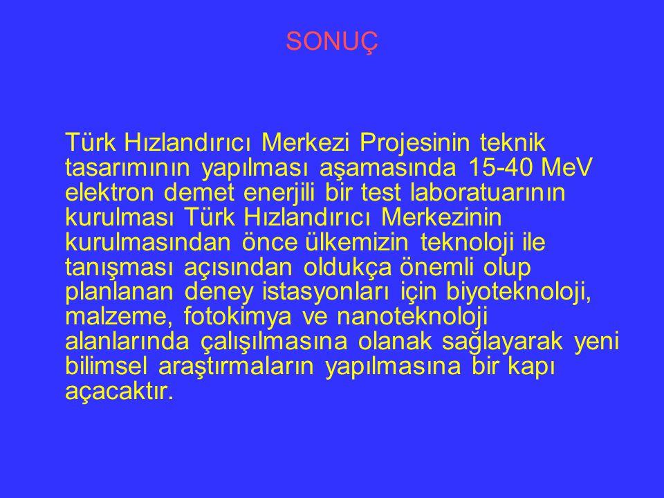 SONUÇ Türk Hızlandırıcı Merkezi Projesinin teknik tasarımının yapılması aşamasında 15-40 MeV elektron demet enerjili bir test laboratuarının kurulması