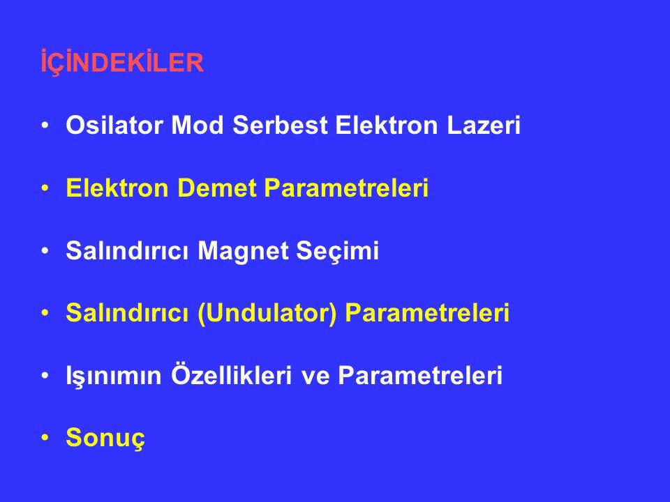 İÇİNDEKİLER Osilator Mod Serbest Elektron Lazeri Elektron Demet Parametreleri Salındırıcı Magnet Seçimi Salındırıcı (Undulator) Parametreleri Işınımın