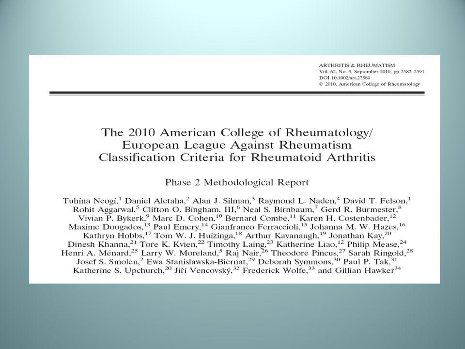 2010 ACR /EULAR ROMATOİD ARTRİT İÇİN SINIFLANDIRMA KRİTERLERİ FAZ-II RAPORU Bu çalışmanın amacı Faz-I de elde edilen veriler ışığında Romatoid Artrit tanısına katkı sağlayan kriterleri tanımlamak ve nihai bir uzman görüş birliği oluşturmaktır.