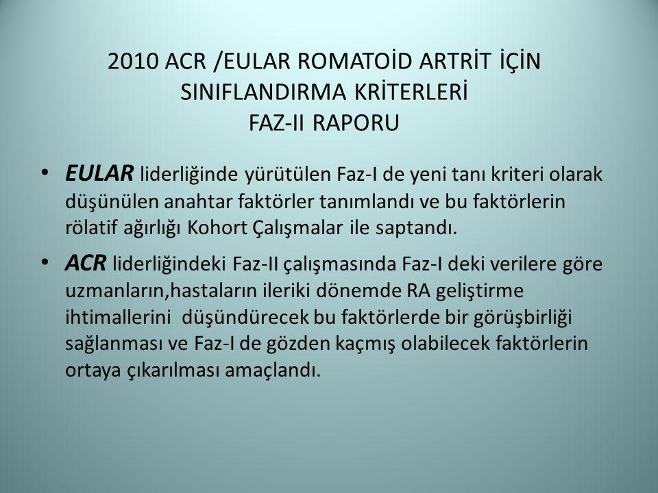 2010 ACR /EULAR ROMATOİD ARTRİT İÇİN SINIFLANDIRMA KRİTERLERİ FAZ-II RAPORU EULAR liderliğinde yürütülen Faz-I de yeni tanı kriteri olarak düşünülen a