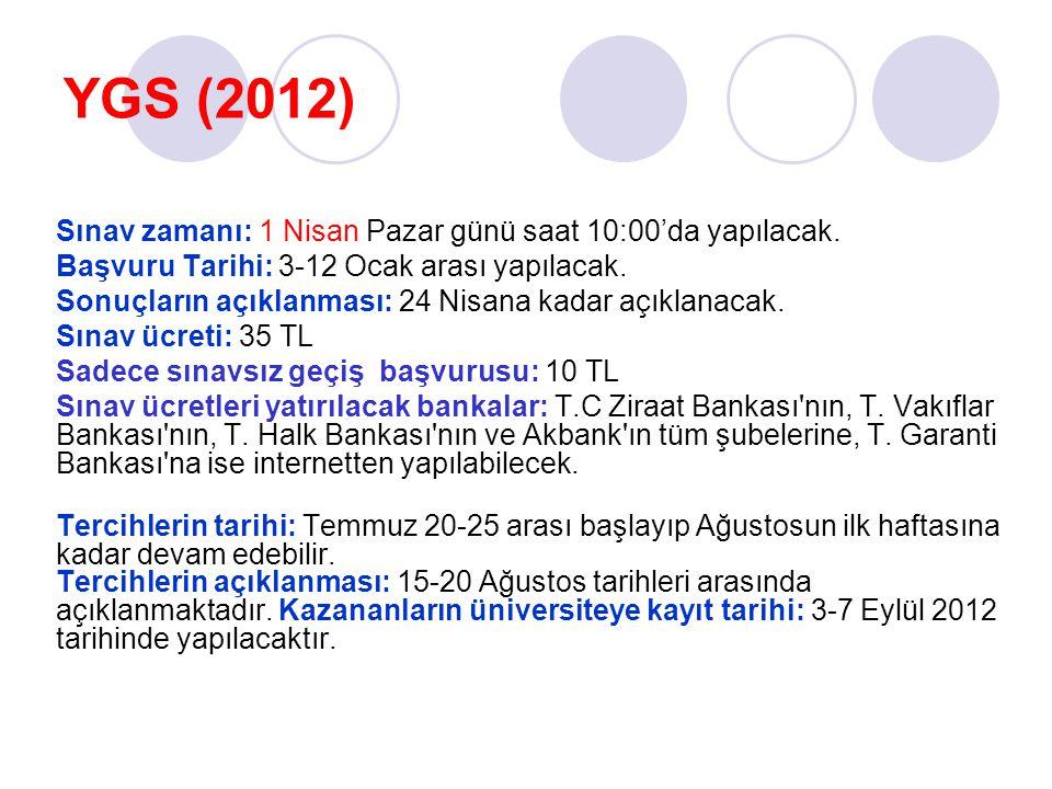 YGS (2012) Sınav zamanı: 1 Nisan Pazar günü saat 10:00'da yapılacak. Başvuru Tarihi: 3-12 Ocak arası yapılacak. Sonuçların açıklanması: 24 Nisana kada
