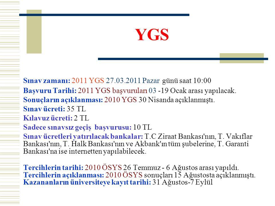 YGS Sınav zamanı: 2011 YGS 27.03.2011 Pazar günü saat 10:00 Başvuru Tarihi: 2011 YGS başvuruları 03 -19 Ocak arası yapılacak. Sonuçların açıklanması: