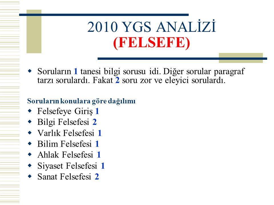 2010 YGS ANALİZİ (FELSEFE)  Soruların 1 tanesi bilgi sorusu idi. Diğer sorular paragraf tarzı sorulardı. Fakat 2 soru zor ve eleyici sorulardı. Sorul